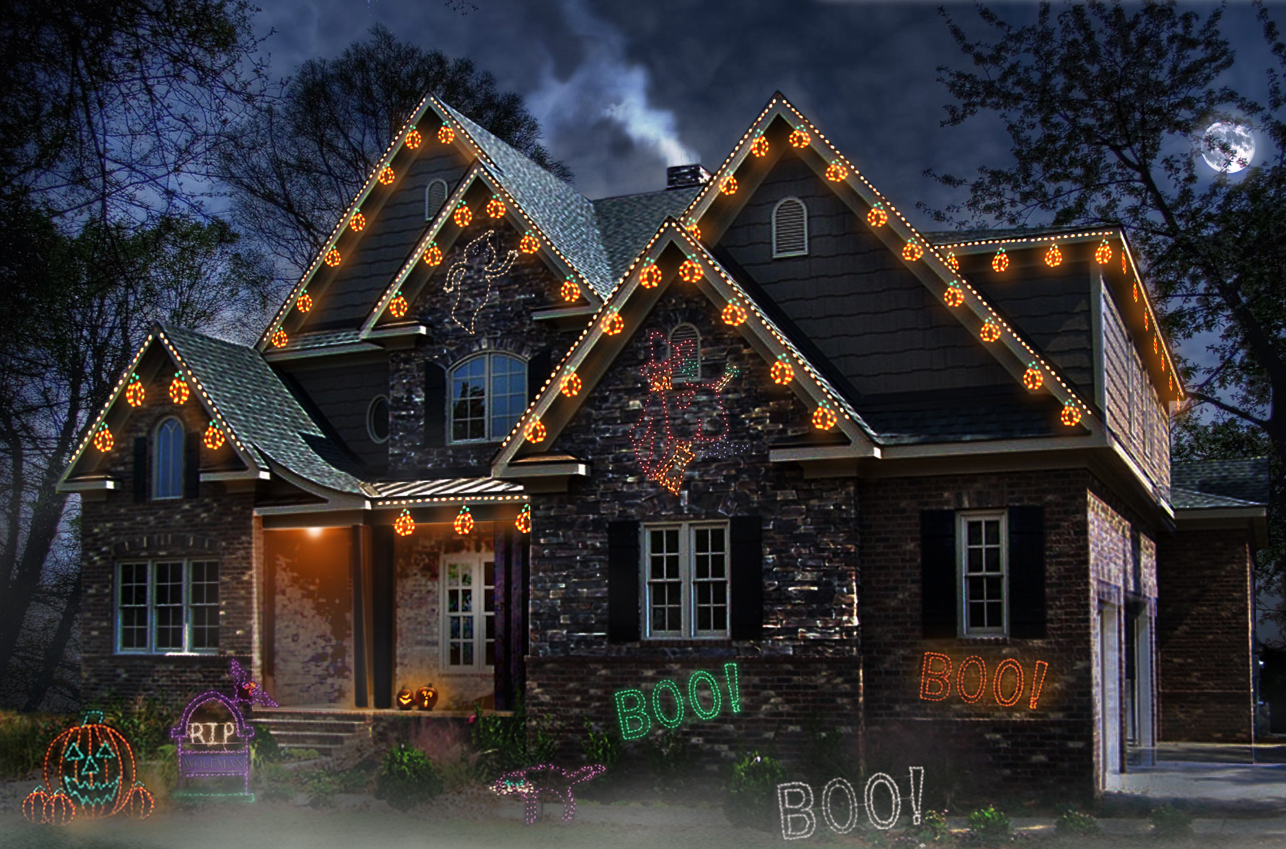 outdoor christmas light installation easy diy this lights for halloween frightfully good idea no fuss